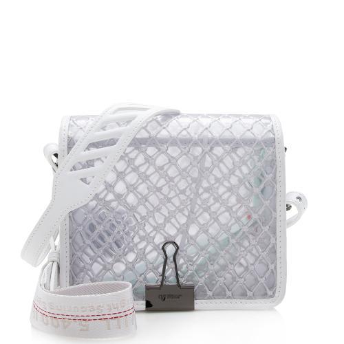 Off-White Transparent Net Binder Clip Shoulder Bag