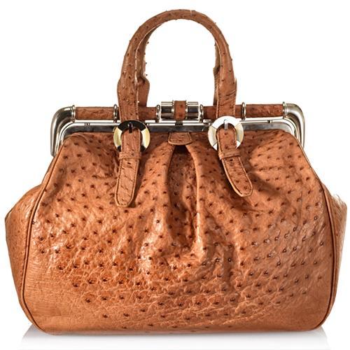 Oscar De La Renta Ostrich Larrabe Framed Satchel Handbag