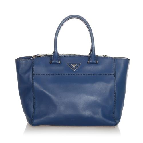 Prada Caflskin Stitched Tote Bag