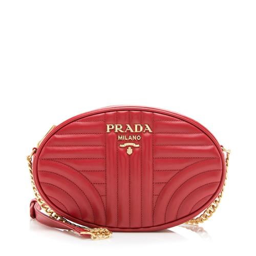 Prada Calfskin Diagramme Oval Crossbody Bag