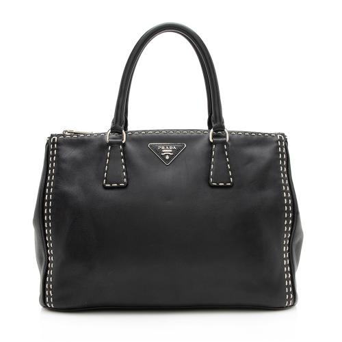 Prada Calfskin Stitched Double-Zip Medium City Tote