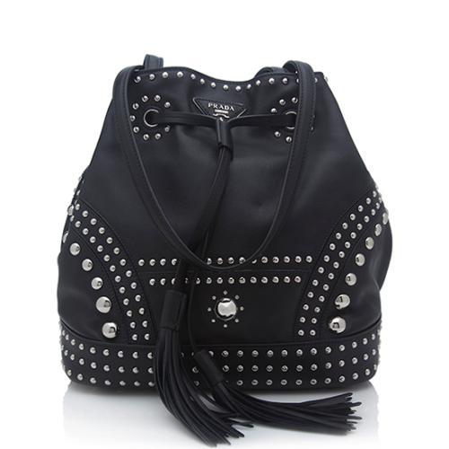 Prada Calfskin Studded Medium Bucket Bag