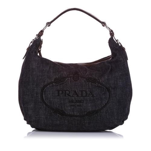 Prada Canapa Denim Hobo Bag