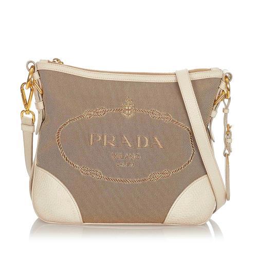 Prada Canapa Logo Canvas Shoulder Bag