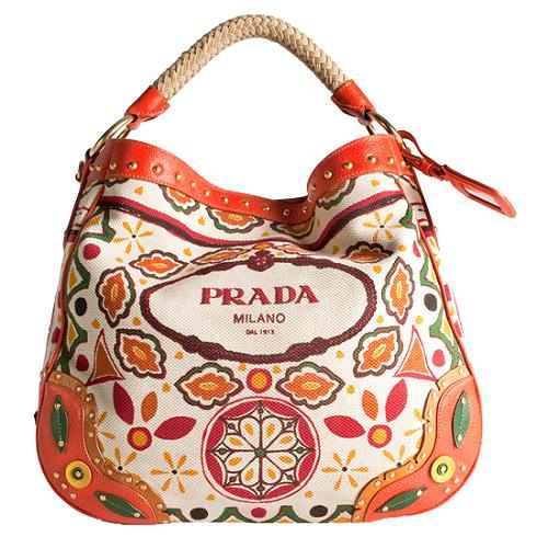 Prada Canapa Stampata Hobo Handbag