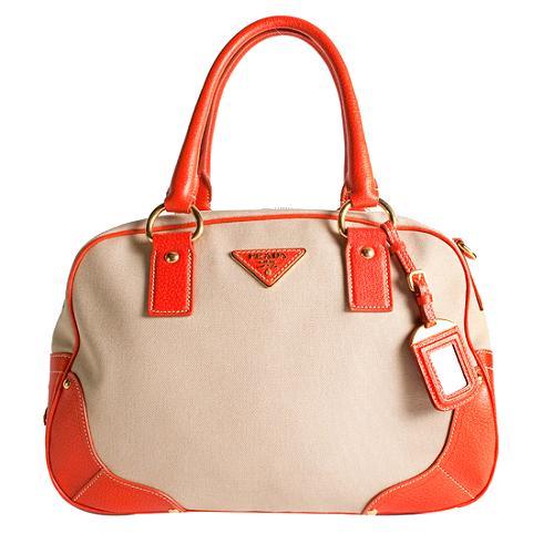 Prada Canapa and Cinghiale Bowler Satchel Handbag