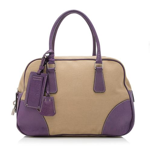 Prada Canvas Leather Canapa Satchel