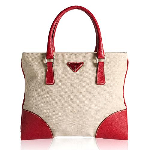 Prada Canvas and Leather Tote
