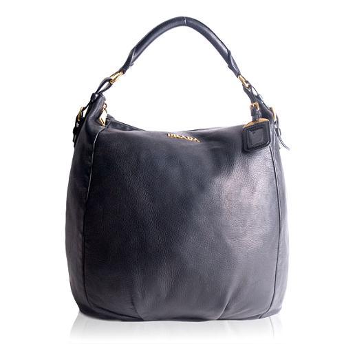 Prada Cervo Shine Hobo Handbag