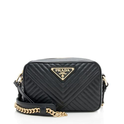 Prada Chevron Calfskin Diagramme Small Crossbody Bag