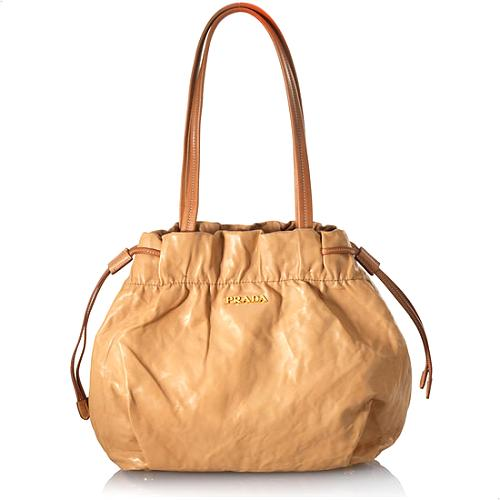 Prada Crinkled Nappa Leather Shoulder Bag