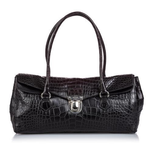 Prada Crocodile Embossed Easy Shoulder Bag