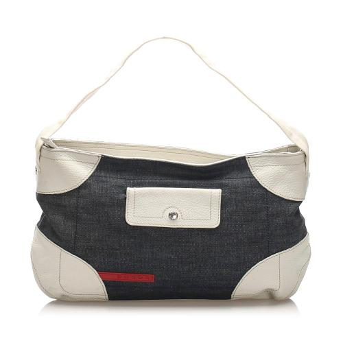 Prada Denim Baguette Shoulder Bag