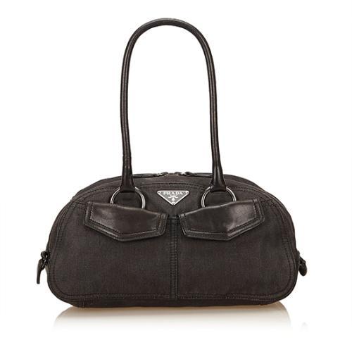 Prada Denim Leather Shoulder Bag