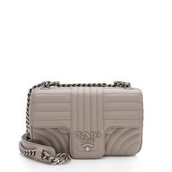 Prada Calfskin Diagramme Flap Small Shoulder Bag