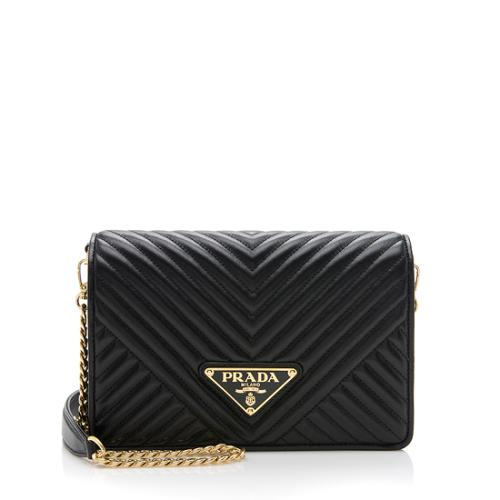 Prada Chevron Calfskin Diagramme Crossbody Bag