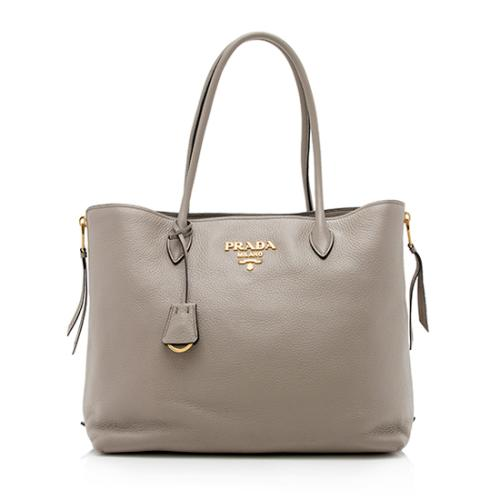 Prada Vitello Diano Leather Top Handle Shopper Tote