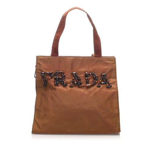 Prada Embellished Tessuto Tote