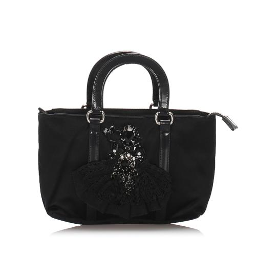 Prada Embroidered Nylon Satchel
