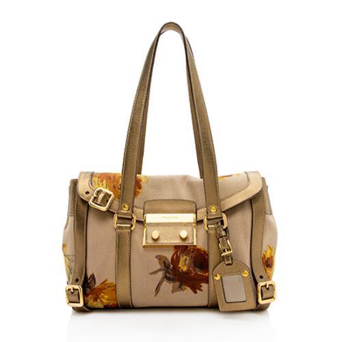 Prada Floral Sacca Canapa St. Rose Shoulder Bag