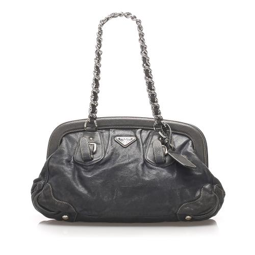 Prada Leather Frame Shoulder Bag