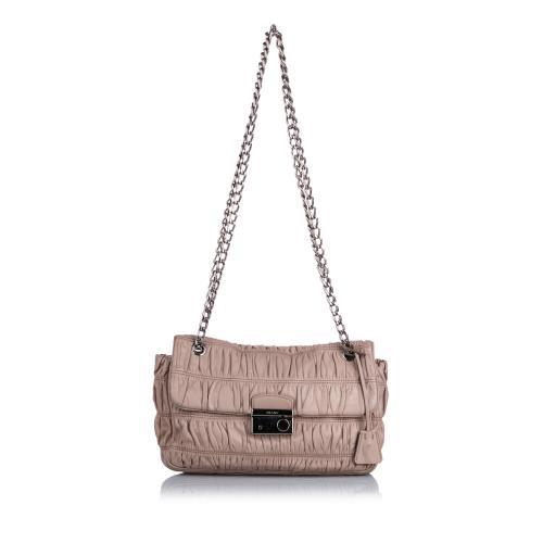 Prada Gaufre Leather Chain Sound Shoulder Bag