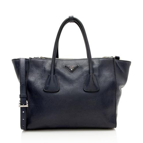 Prada Glace Calf Twin Pocket Tote