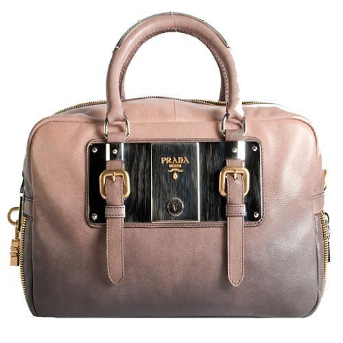 Prada Glace Zip Bowler Satchel Handbag