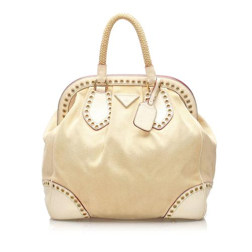 Prada Grommet Frame Canvas Handbag