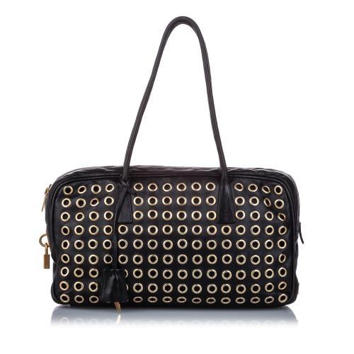 Prada Grommet Leather Shoulder Bag