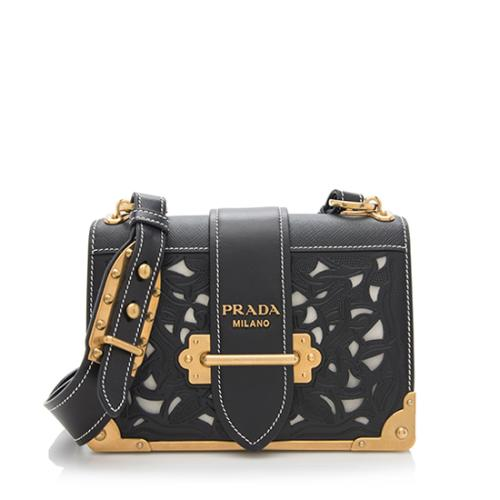Prada Laser Cut Saffiano Calfskin Cahier Bag