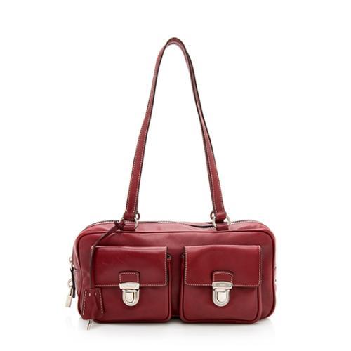 Prada Nappa Leather Double Pocket Satchel