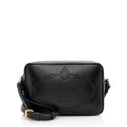 Prada Leather Embossed Logo Crossbody Bag