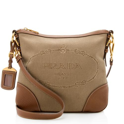 94193a2c5d90 Prada Leather Jacquard Logo Crossbody Bag