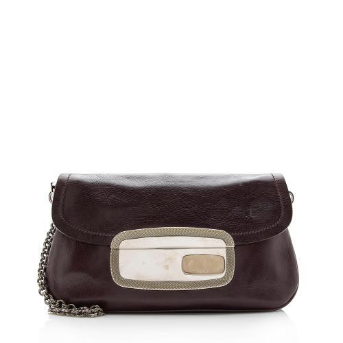 Prada Leather Pushlock Chain Clutch