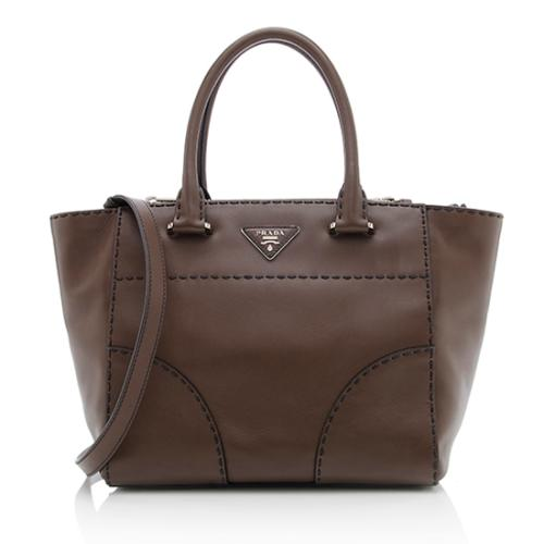 Prada Leather Stitched City Small Tote