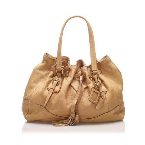Prada Leather Tassel Tote Bag
