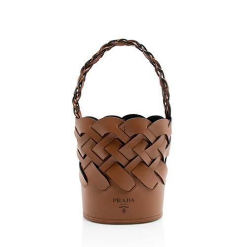 Prada Leather Woven Bucket Bag