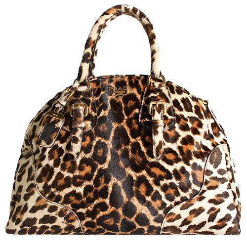 Prada Leopard Calf Hair Large Bowler Satchel Handbag