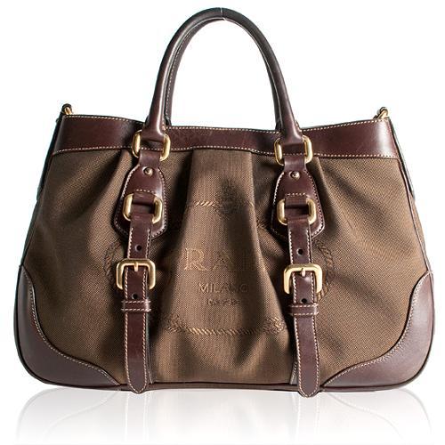 Prada Logo Jacquard Satchel Handbag