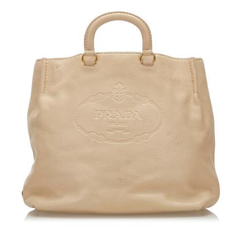 Prada Logo Leather Satchel