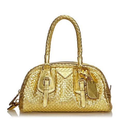 Prada Madras Intreccio Frame Metallic Handbag