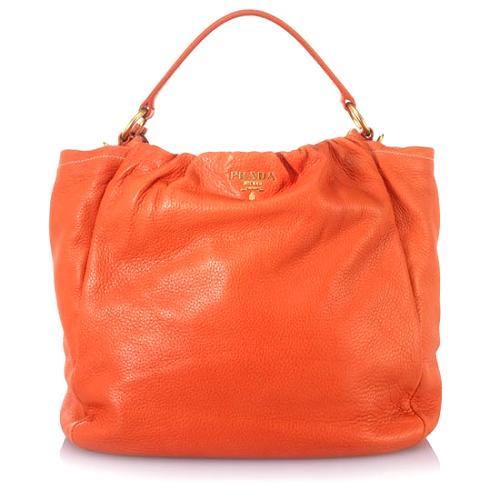 Prada Medium Soft Pebbled Leather Hobo Handbag