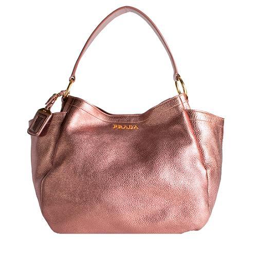Prada Metallic Pocket Shoulder Handbag