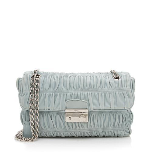Prada Nappa Leather Gaufre Chain Shoulder Bag