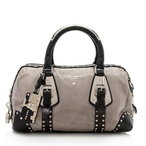 659a3a96f2cc32 Prada Nappa Leather Studded Trunk Bauletto Satchel