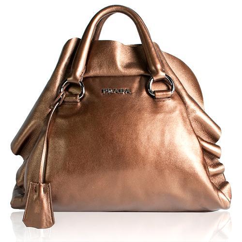 Prada Nappa Ruffle Satchel Handbag
