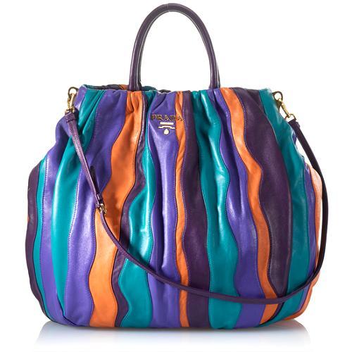 Prada Nappa Stripes Shoulder Handbag