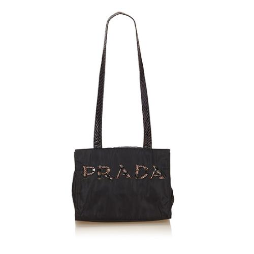 Prada Vintage Tessuto Snakeskin Beaded Logo Shoulder Bag