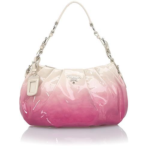 Prada Ombre Patent Leather Small Hobo Handbag